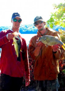Ryan and Jesse with  2 of their five fish first place winning bag at Suncook 2014